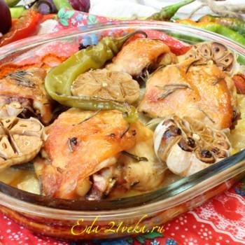 Картофель, запеченный с курицей в горчичном соусе. Рецепт с пошаговым фото.