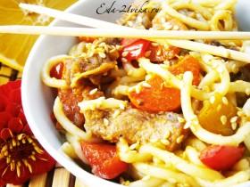 Лапша со свининой и соусом Терияки (Китайская кухня). Рецепт с пошаговым фото.